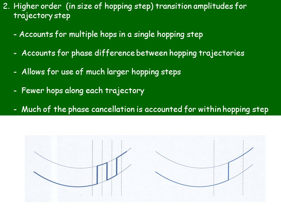 2.Higher order (in size of hopping step) transition amplitudes for trajectory step - Accounts for multiple hops in a single hopping step - Accounts for phase difference between hopping trajectories - Allows for use of much larger hopping steps - Fewer hops along each trajectory - Much of the phase cancellation is accounted for within hopping step