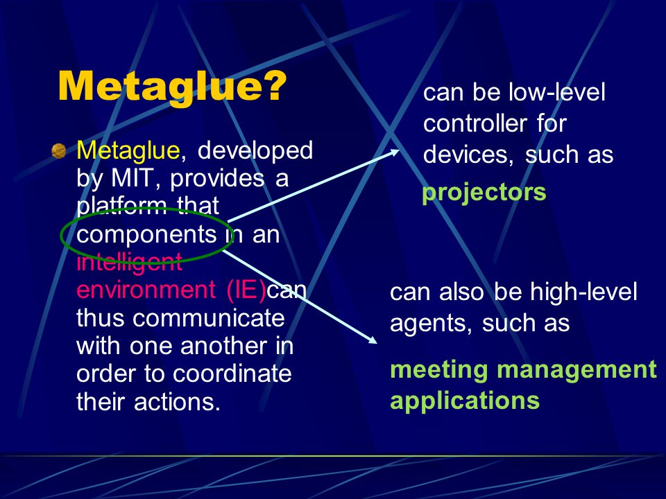 Metaglue? Metaglue, developed by MIT, provides a platform that components in an intelligent environment (IE)can thus communicate with one another in o