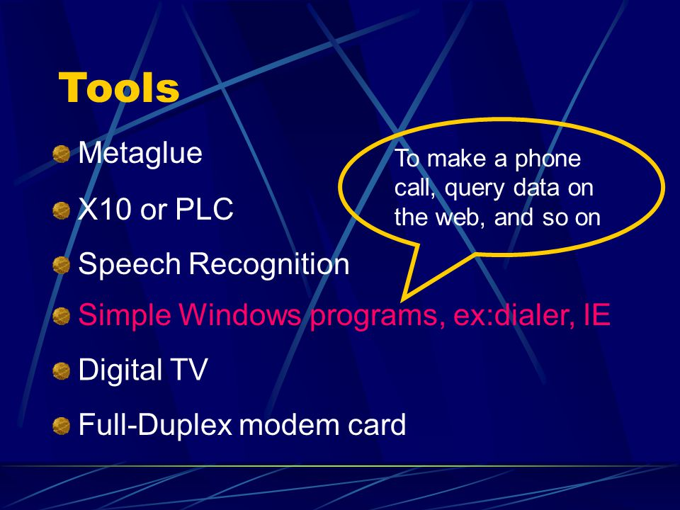Tools Metaglue X10 or PLC Speech Recognition Simple Windows programs, ex:dialer, IE Digital TV Full-Duplex modem card To make a phone call, query data on the web, and so on