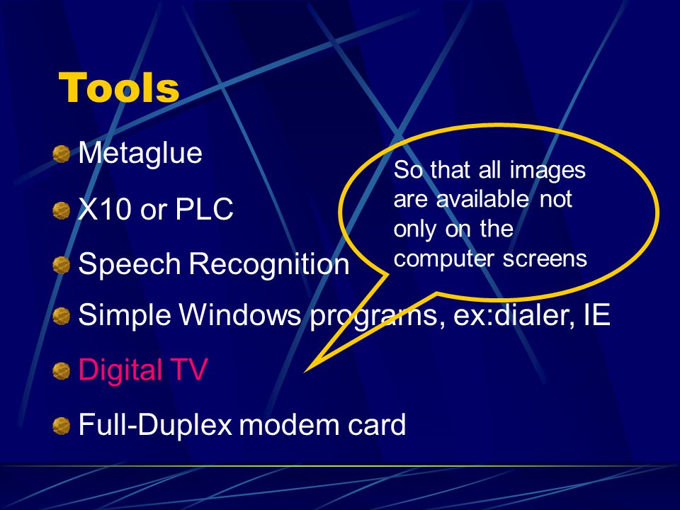 Tools Metaglue X10 or PLC Speech Recognition Simple Windows programs, ex:dialer, IE Digital TV Full-Duplex modem card So that all images are available not only on the computer screens