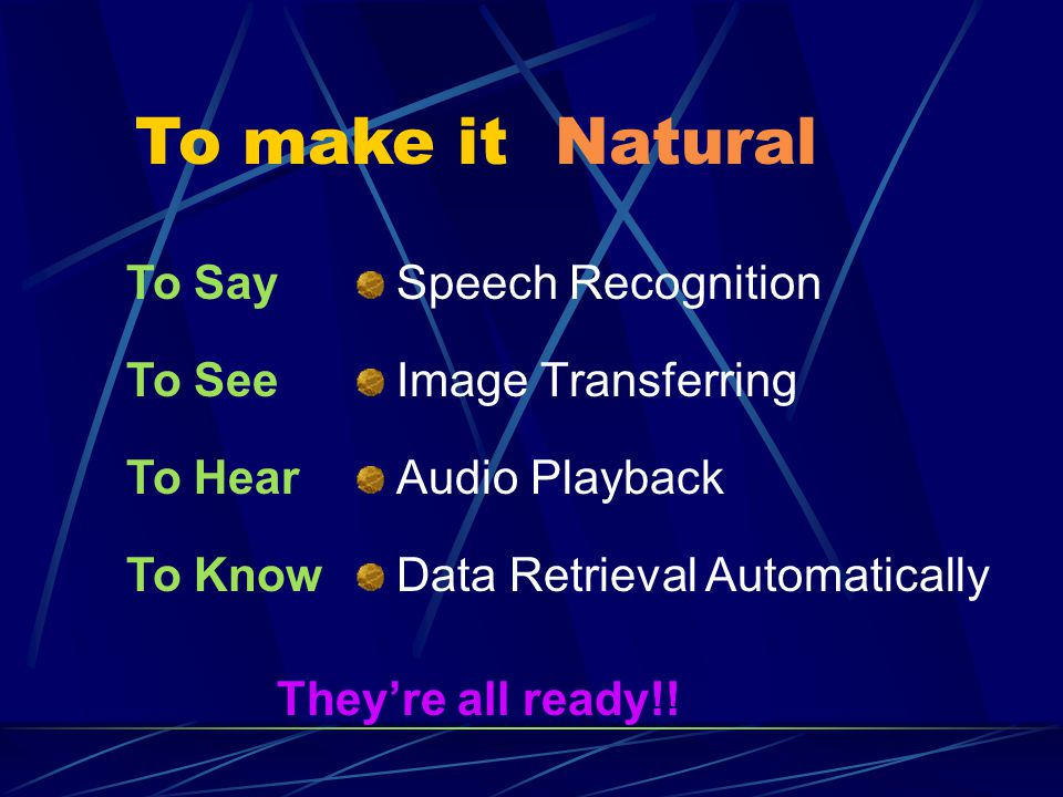Tools Metaglue X10 or PLC Speech Recognition Simple Windows programs, ex:dialer, IE Digital TV Full-Duplex modem card Constant recording time and different keyword data for each function