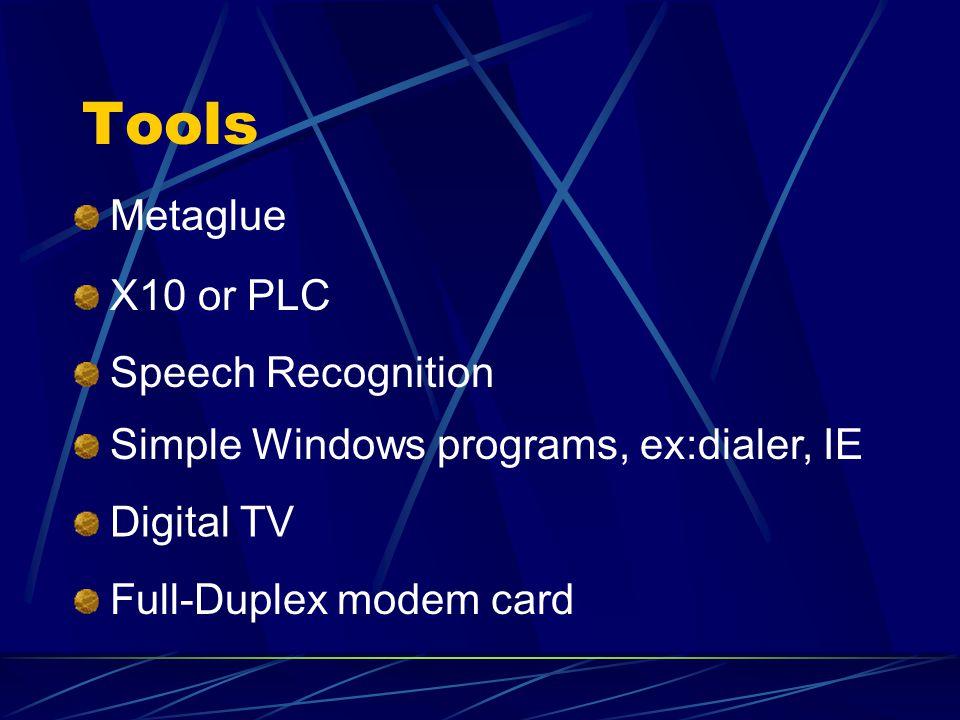 Tools X10 or PLC Speech Recognition Simple Windows programs, ex:dialer, IE Digital TV Full-Duplex modem card Metaglue