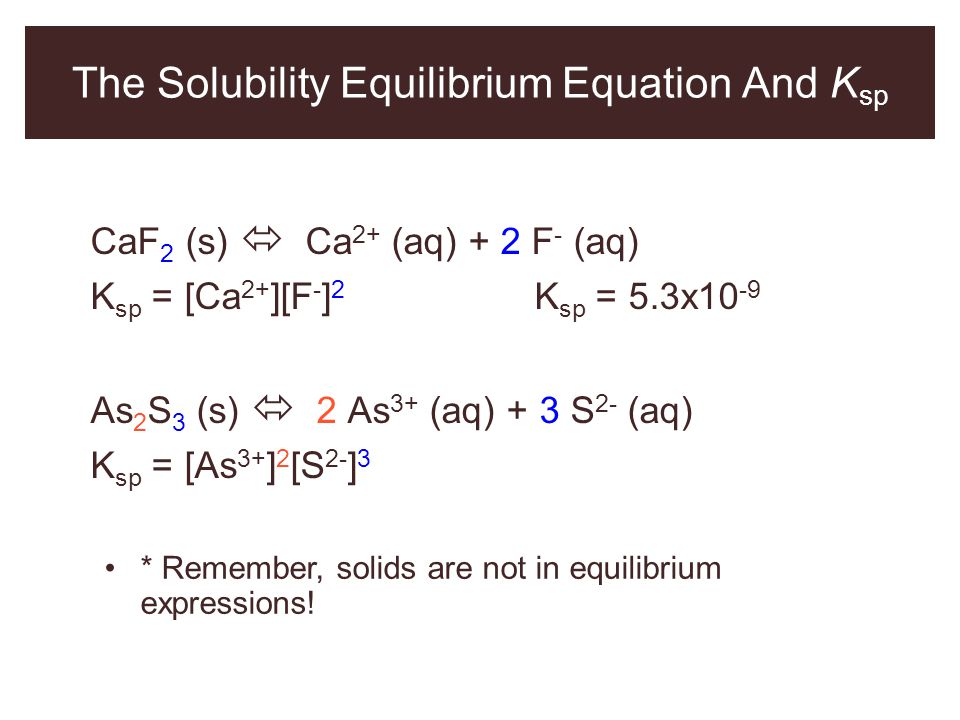 The Solubility Equilibrium Equation And K sp CaF 2 (s)  Ca 2+ (aq) + 2 F - (aq) K sp = [Ca 2+ ][F - ] 2 K sp = 5.3x10 -9 As 2 S 3 (s)  2 As 3+ (aq)