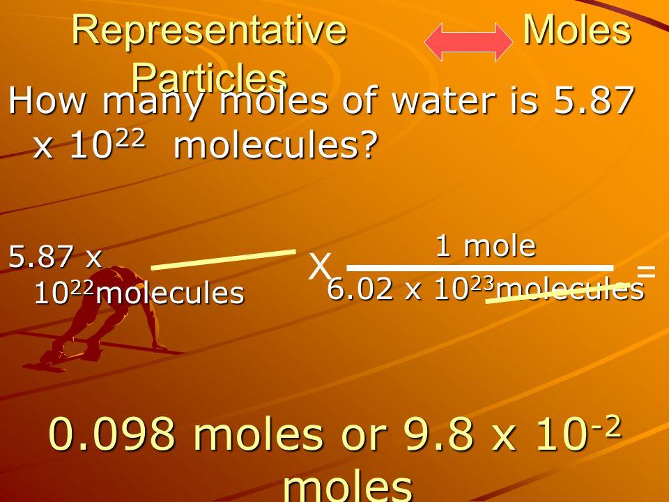 Representative Particles How many moles of water is 5.87 x 10 22 molecules? Moles 1 mole 6.02 x 10 23 molecules 5.87 x 10 22 molecules X = 0.098 moles