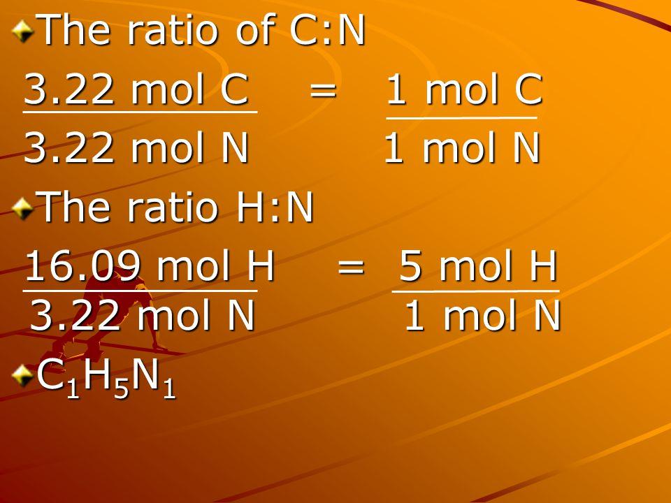 The ratio of C:N 3.22 mol C = 1 mol C 3.22 mol C = 1 mol C 3.22 mol N 1 mol N 3.22 mol N 1 mol N The ratio H:N 16.09 mol H = 5 mol H 3.22 mol N 1 mol