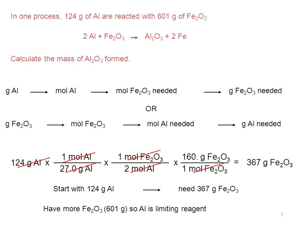7 In one process, 124 g of Al are reacted with 601 g of Fe 2 O 3 2 Al + Fe 2 O 3 Al 2 O 3 + 2 Fe Calculate the mass of Al 2 O 3 formed. g Almol Almol