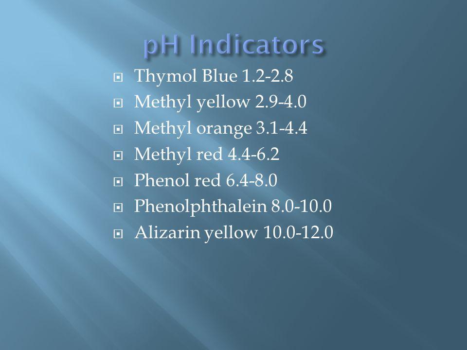  Thymol Blue 1.2-2.8  Methyl yellow 2.9-4.0  Methyl orange 3.1-4.4  Methyl red 4.4-6.2  Phenol red 6.4-8.0  Phenolphthalein 8.0-10.0  Alizarin yellow 10.0-12.0