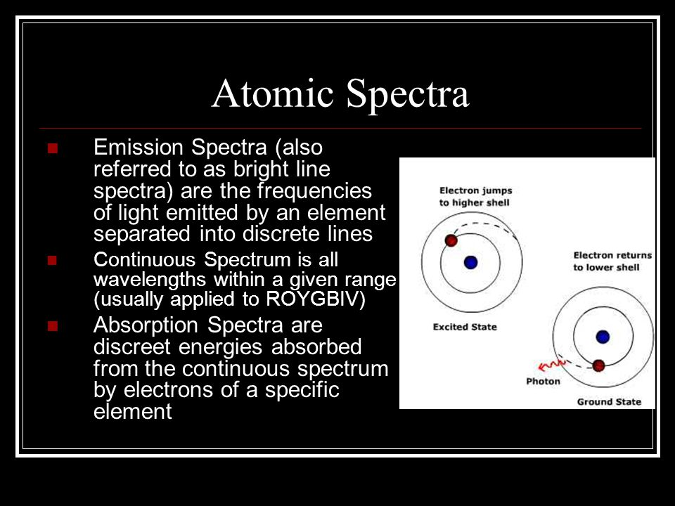 Atomic Spectra Emission Spectra (also referred to as bright line spectra) are the frequencies of light emitted by an element separated into discrete l