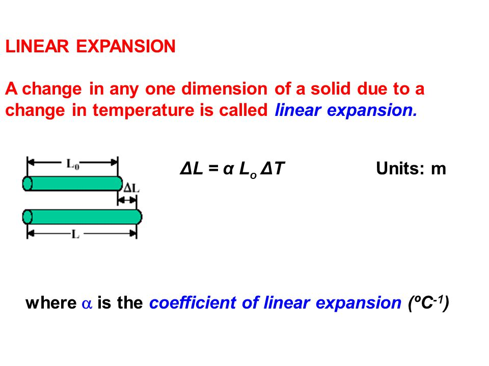 LINEAR EXPANSION A change in any one dimension of a solid due to a change in temperature is called linear expansion. ΔL = α L o ΔTUnits: m where  is