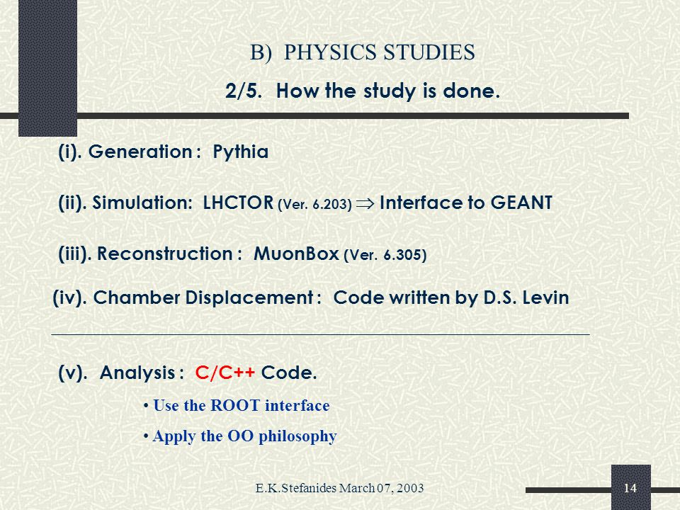 E.K.Stefanides March 07, 200313 B) PHYSICS STUDIES 1/5.