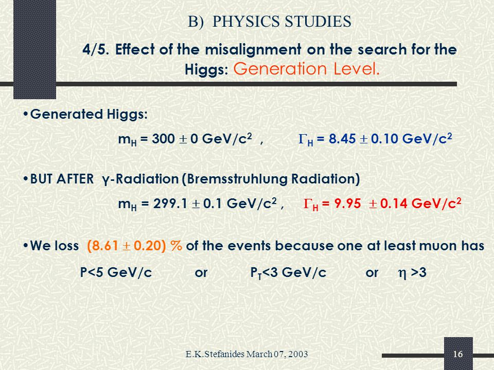 E.K.Stefanides March 07, 200315 B)PHYSICS STUDIES 3/5.