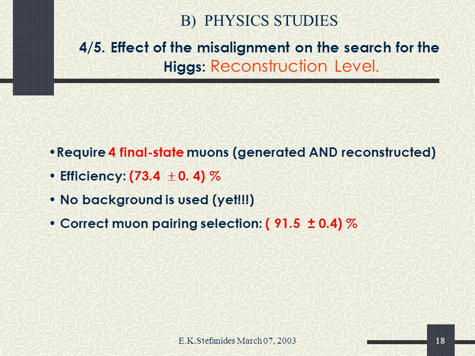 E.K.Stefanides March 07, 200317 B)PHYSICS STUDIES 4/5. Effect of the misalignment on the search for the Higgs: Energy Loss. Muons' mean energy loss at