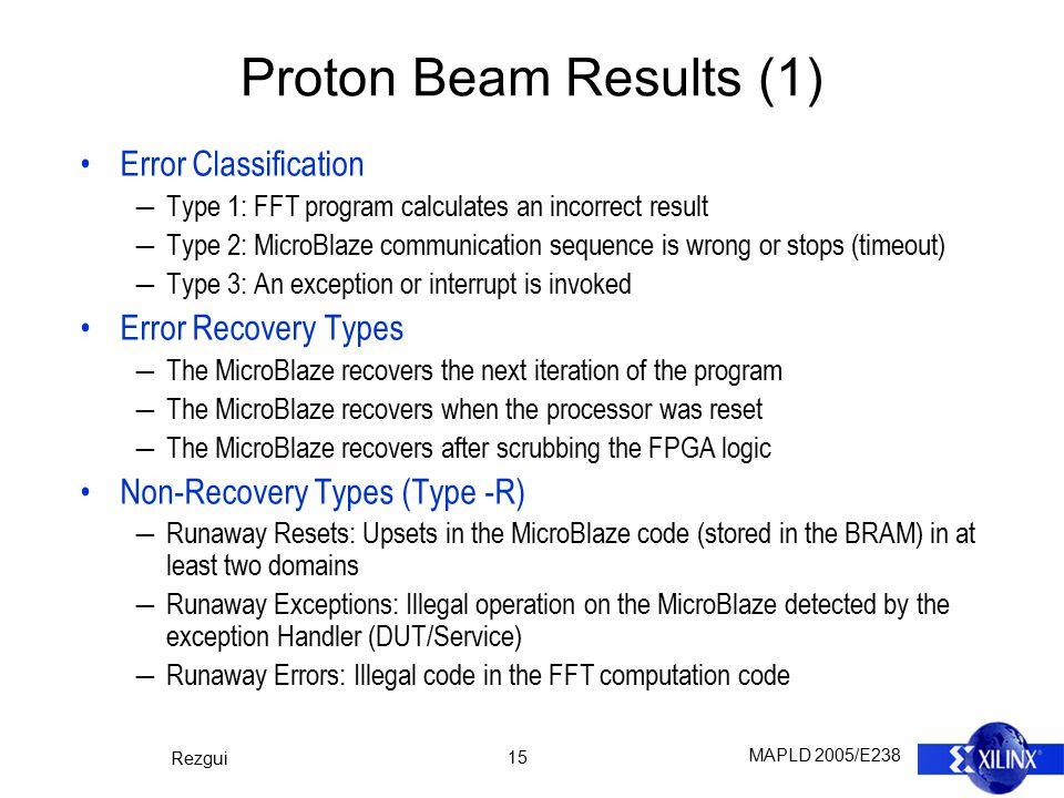 MAPLD 2005/E238 Rezgui 15 Proton Beam Results (1) Error Classification ―Type 1: FFT program calculates an incorrect result ―Type 2: MicroBlaze communi