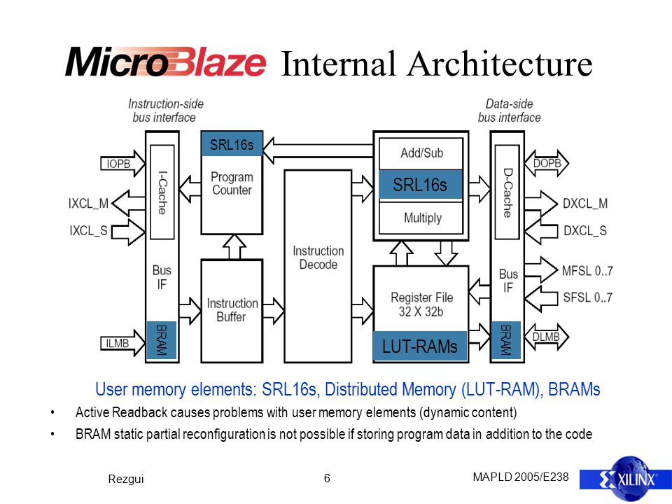 MAPLD 2005/E238 Rezgui 17 Conclusion A complete solution to mitigate an embedded processor implemented on a Xilinx Virtex II FPGA based on: ― Continuous external configuration scrubbing, ― Functional-block design triplication, ― Independent internal BRAM scrubbing (also triplicated).