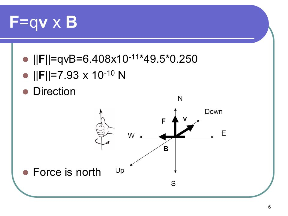 6 F=qv x B ||F||=qvB=6.408x10 -11 *49.5*0.250 ||F||=7.93 x 10 -10 N Direction Force is north N W E S B Up Down v F