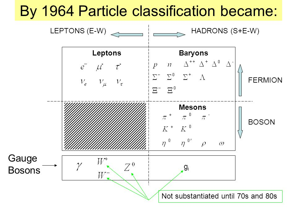 By 1964 Particle classification became: Gauge Bosons FERMION BOSON gigi Not substantiated until 70s and 80s LeptonsBaryons Mesons HADRONS (S+E-W)LEPTONS (E-W)