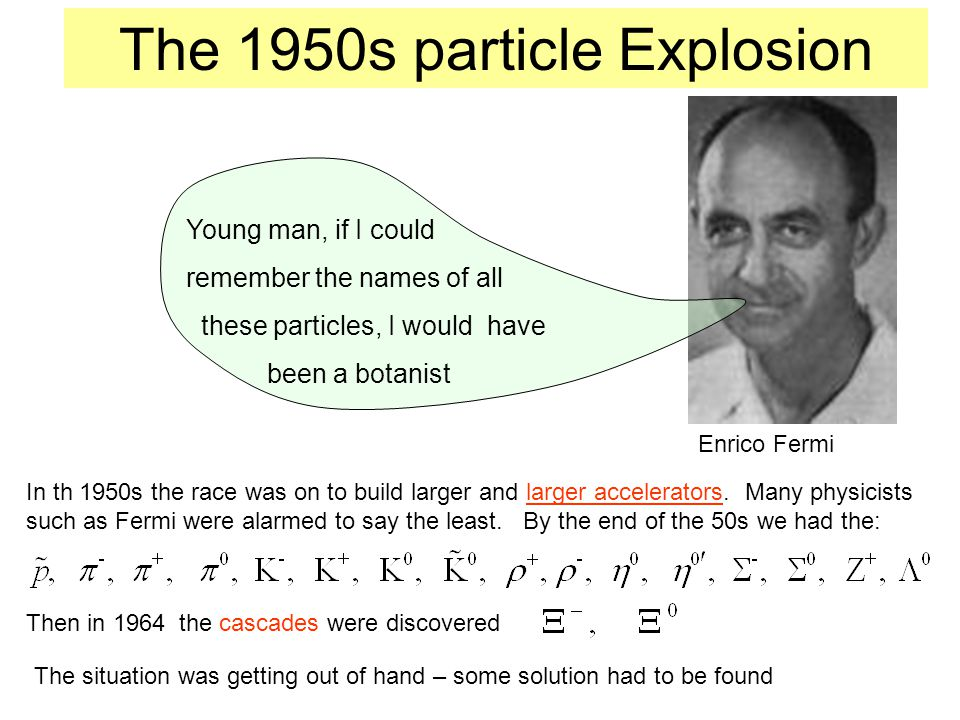 The 1950s particle Explosion Young man, if I could remember the names of all these particles, I would have been a botanist Enrico Fermi In th 1950s the race was on to build larger and larger accelerators.