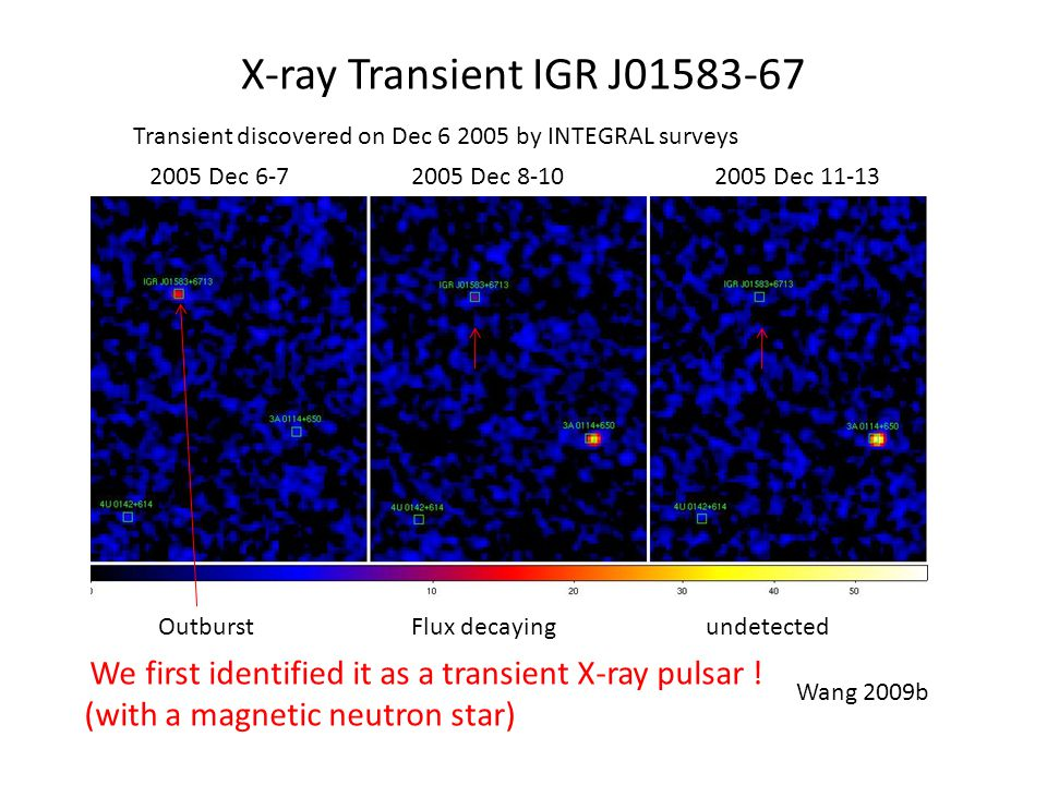 X-ray Transient IGR J01583-67 Transient discovered on Dec 6 2005 by INTEGRAL surveys 2005 Dec 6-72005 Dec 8-102005 Dec 11-13 Wang 2009b We first identified it as a transient X-ray pulsar .