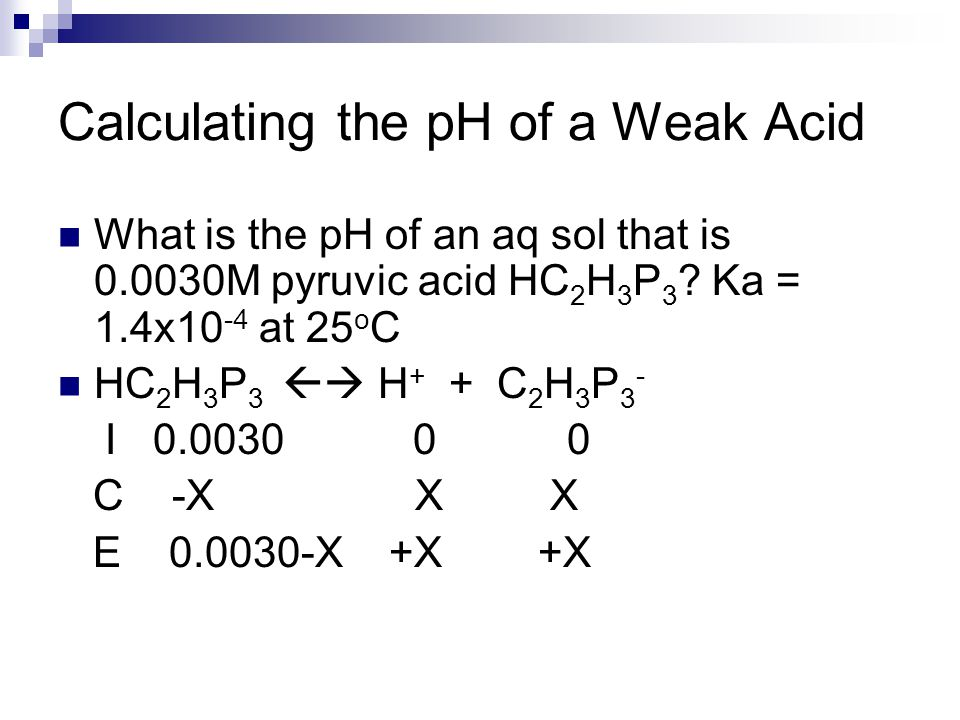 Calculating the pH of a Weak Acid What is the pH of an aq sol that is 0.0030M pyruvic acid HC 2 H 3 P 3 ? Ka = 1.4x10 -4 at 25 o C HC 2 H 3 P 3  H +
