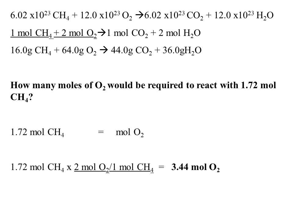 6.02 x10 23 CH 4 + 12.0 x10 23 O 2  6.02 x10 23 CO 2 + 12.0 x10 23 H 2 O 1 mol CH 4 + 2 mol O 2  1 mol CO 2 + 2 mol H 2 O 16.0g CH 4 + 64.0g O 2  4