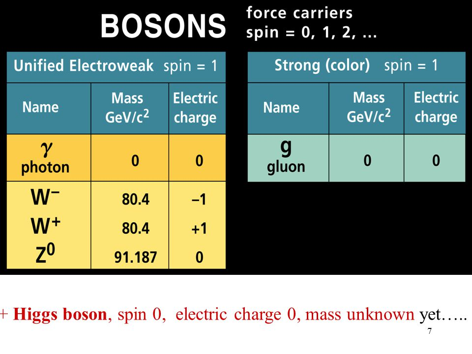7 + Higgs boson, spin 0, electric charge 0, mass unknown yet…..