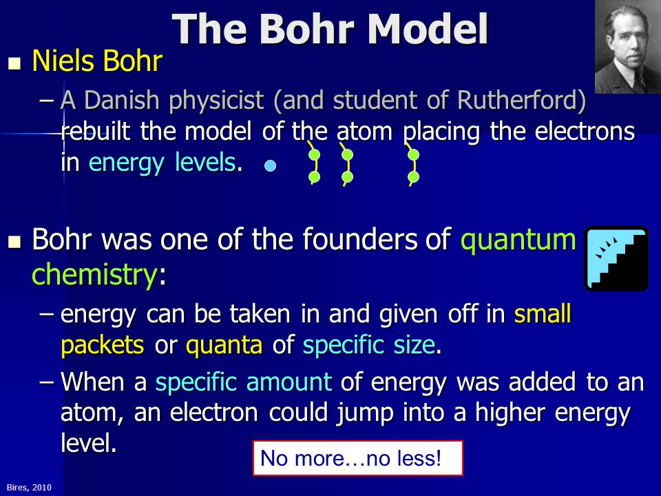 Bires, 2010 The Bohr Model Niels Bohr Niels Bohr –A Danish physicist (and student of Rutherford) rebuilt the model of the atom placing the electrons in energy levels.