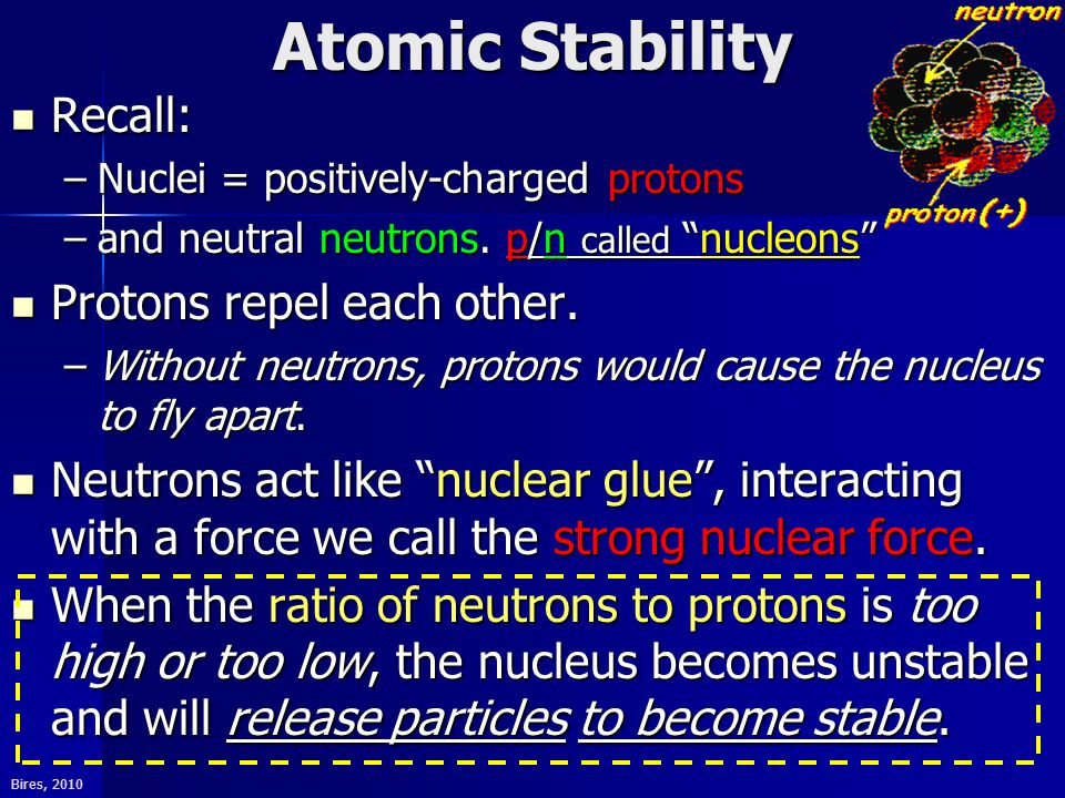 "Bires, 2010 Atomic Stability Recall: Recall: –Nuclei = positively-charged protons –and neutral neutrons. p/n called ""nucleons"" Protons repel each othe"
