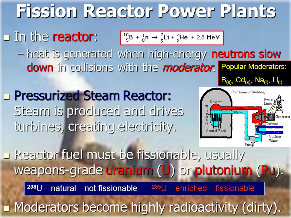 Bires, 2010 Fission Reactor Power Plants In the reactor: In the reactor: –heat is generated when high-energy neutrons slow down in collisions with the moderator.