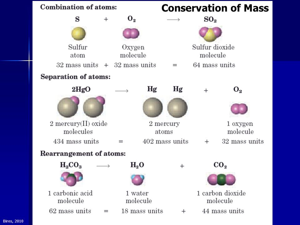 Bires, 2010 Conservation of Mass