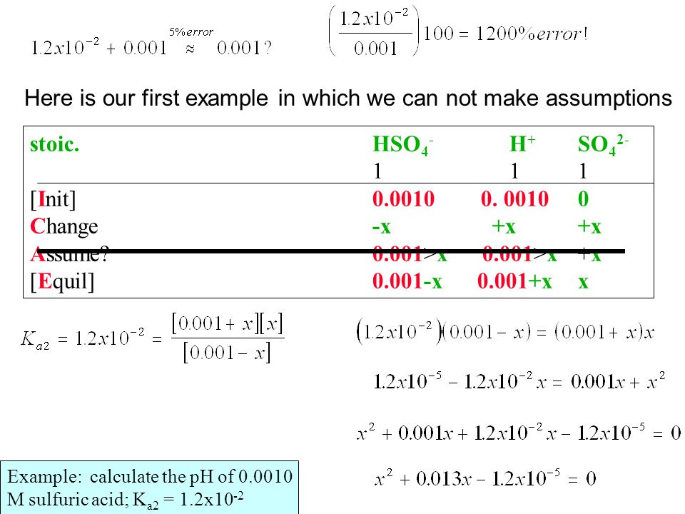 Example: calculate the pH of 0.0010 M sulfuric acid; K a2 = 1.2x10 -2 stoic.HSO 4 - H + SO 4 2- 111111 [Init]0.0010 0. 0010 0 Change-x +x+x Assume?0.0