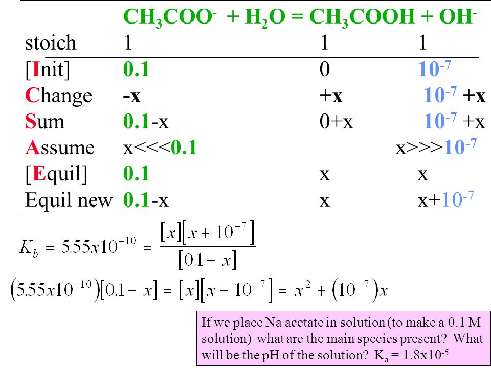 CH 3 COO - + H 2 O = CH 3 COOH + OH - stoich111 [Init]0.1010 -7 Change-x+x 10 -7 +x Sum0.1-x0+x 10 -7 +x Assumex >>10 -7 [Equil]0.1xx Equil new0.1-xxx+10 -7 If we place Na acetate in solution (to make a 0.1 M solution) what are the main species present.