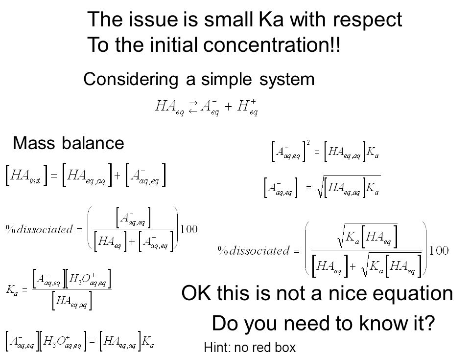 The issue is small Ka with respect To the initial concentration!! Mass balance Considering a simple system Do you need to know it? OK this is not a ni
