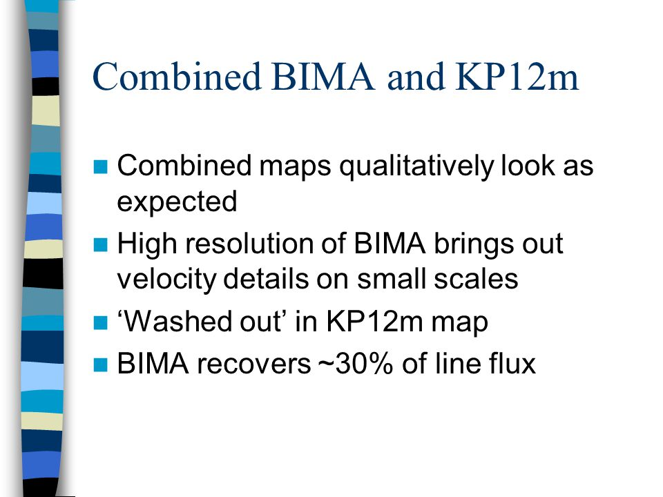 Combined maps qualitatively look as expected High resolution of BIMA brings out velocity details on small scales 'Washed out' in KP12m map BIMA recovers ~30% of line flux