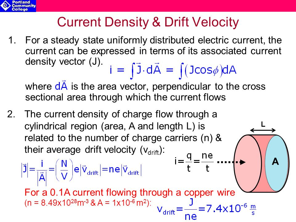 2.The current density of charge flow through a cylindrical region (area, A and length L) is related to the number of charge carriers (n) & their average drift velocity (v drift ): For a 0.1A current flowing through a copper wire (n = 8.49x10 28 m -3 & A = 1x10 -6 m 2 ): Current Density & Drift Velocity 1.For a steady state uniformly distributed electric current, the current can be expressed in terms of its associated current density vector (J).