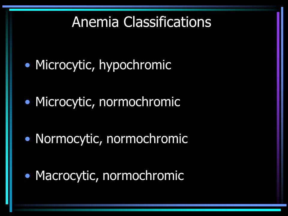 Anemia Classifications Microcytic, hypochromic Microcytic, normochromic Normocytic, normochromic Macrocytic, normochromic