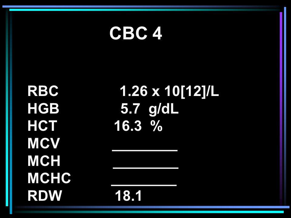 RBC 1.26 x 10[12]/L HGB 5.7 g/dL HCT 16.3 % MCV ________ MCH ________ MCHC ________ RDW 18.1 CBC 4