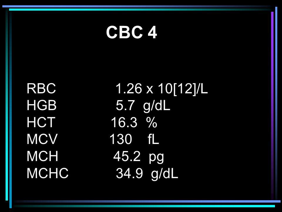 RBC 1.26 x 10[12]/L HGB 5.7 g/dL HCT 16.3 % MCV 130 fL MCH 45.2 pg MCHC 34.9 g/dL CBC 4