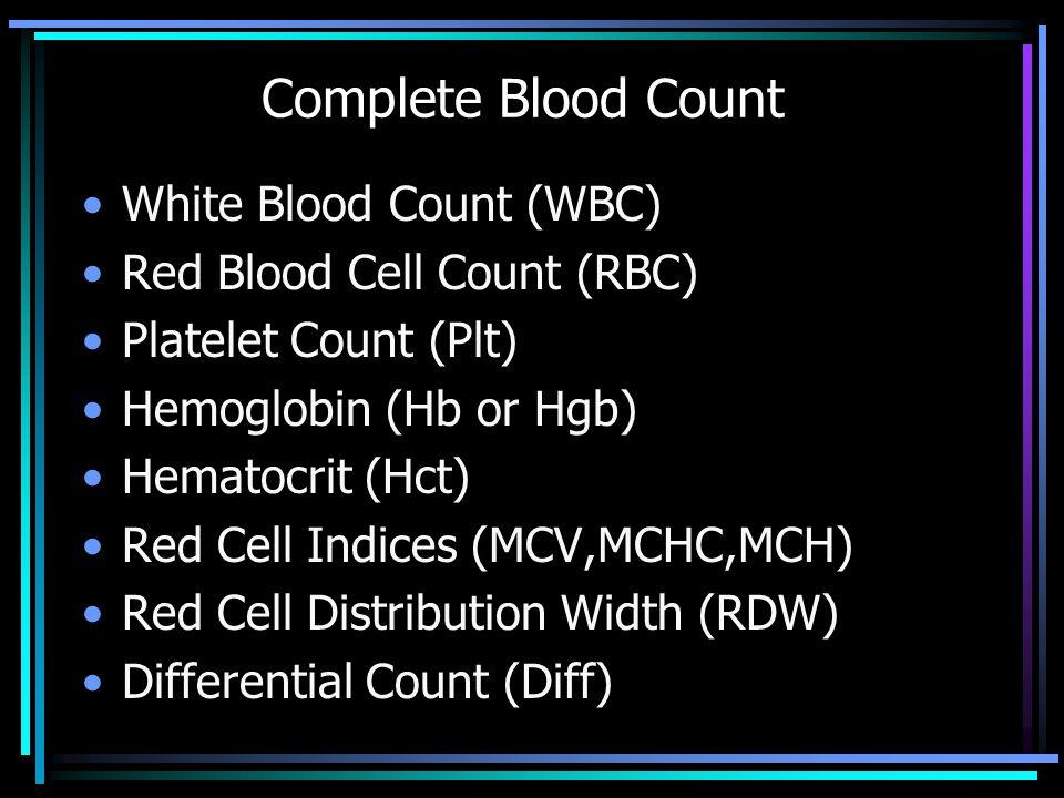 CBC Differential -WBC Segs Lymphs/Atypical Mono's Eo's Baso's Bands Metamyelocyte Myelocyte Promyelocyte Blast