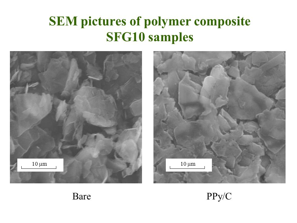 SEM pictures of polymer composite SFG10 samples BarePPy/C 10  m