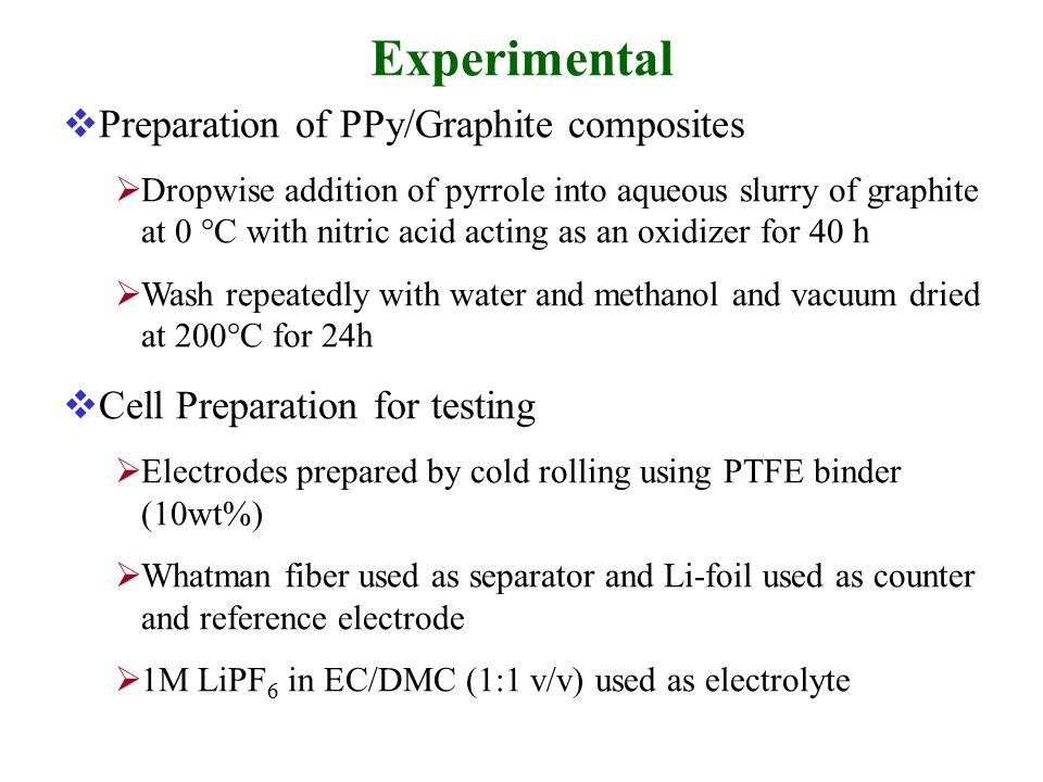 Experimental  Preparation of PPy/Graphite composites  Dropwise addition of pyrrole into aqueous slurry of graphite at 0  C with nitric acid acting as an oxidizer for 40 h  Wash repeatedly with water and methanol and vacuum dried at 200  C for 24h  Cell Preparation for testing  Electrodes prepared by cold rolling using PTFE binder (10wt%)  Whatman fiber used as separator and Li-foil used as counter and reference electrode  1M LiPF 6 in EC/DMC (1:1 v/v) used as electrolyte
