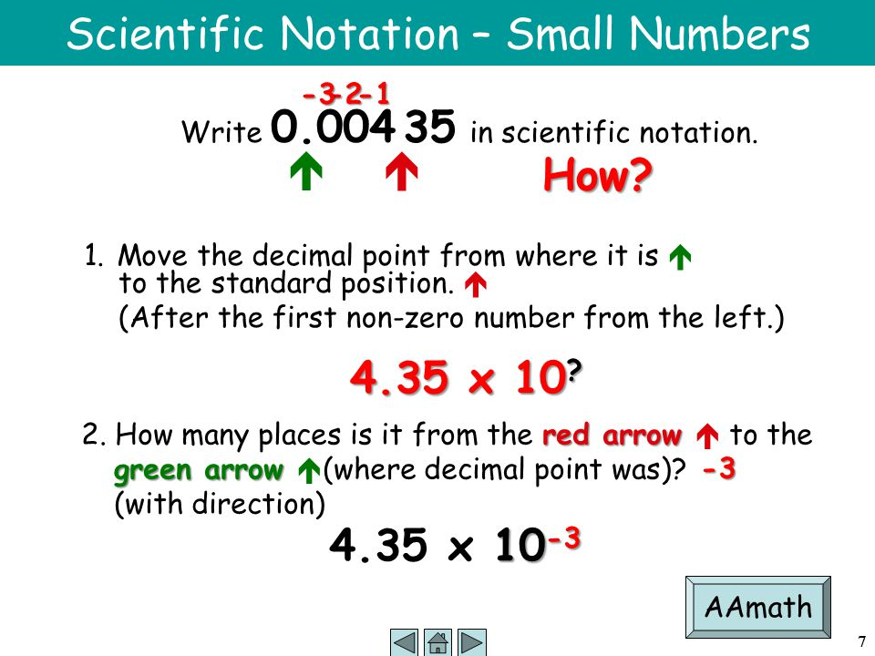 7 Scientific Notation – Small Numbers Write 0.004 35 in scientific notation.