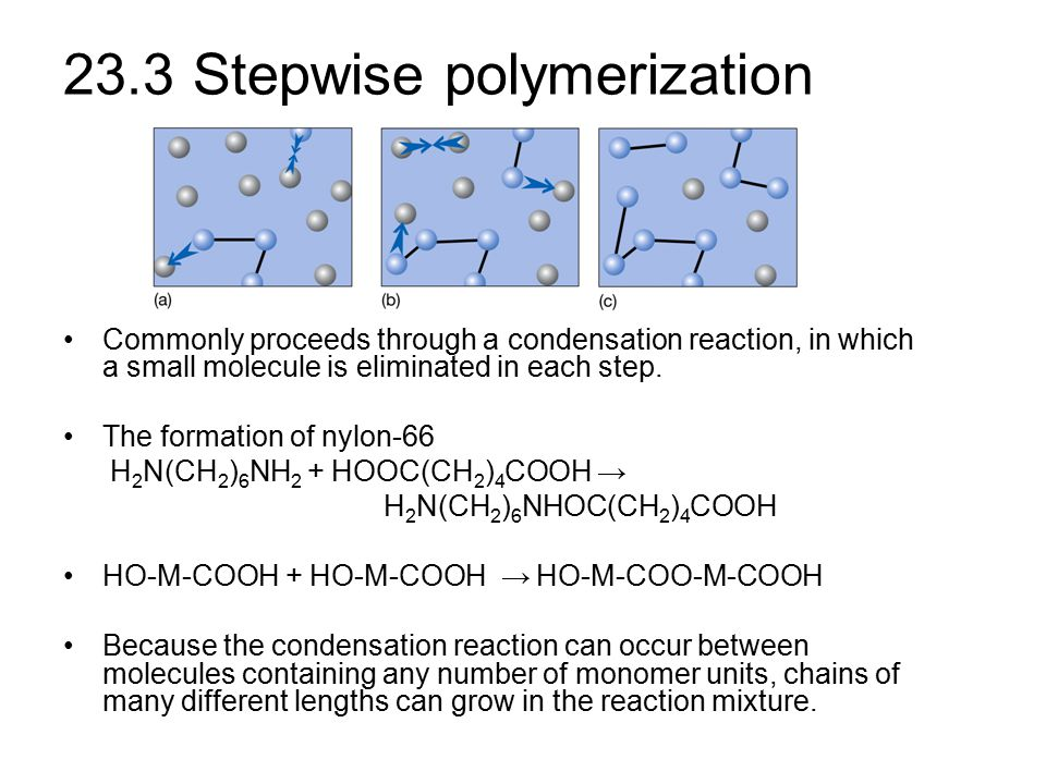 Stepwise polymerization The rate law can be expressed as Assuming that the rate constant k is independent of the chain length, then k remains constant throughout the reaction.