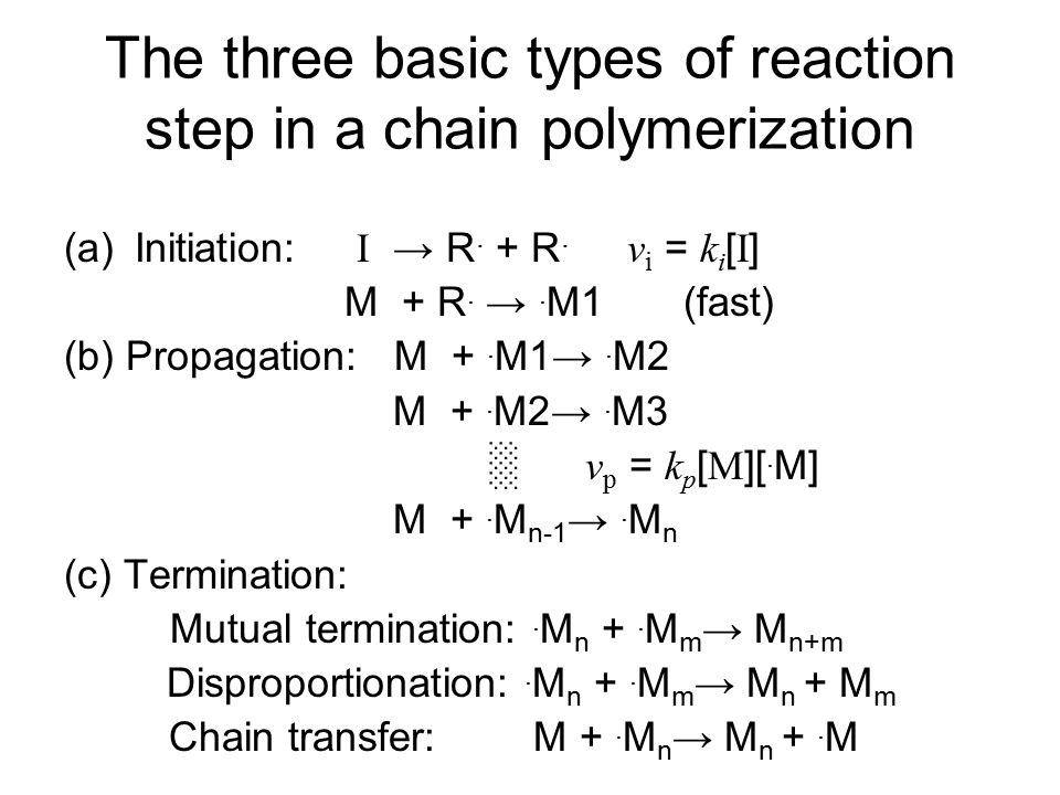 Influences of termination step on the polymerization Mutual termination: two growing radical chains combine.