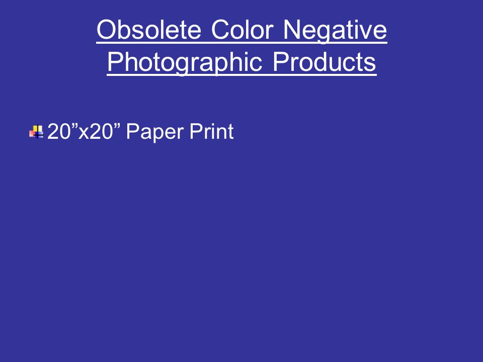 Obsolete Color Negative Photographic Products 20 x20 Paper Print