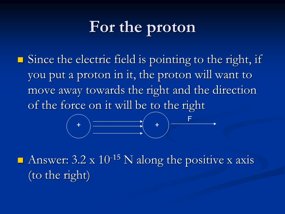 For the proton Since the electric field is pointing to the right, if you put a proton in it, the proton will want to move away towards the right and the direction of the force on it will be to the right Since the electric field is pointing to the right, if you put a proton in it, the proton will want to move away towards the right and the direction of the force on it will be to the right Answer: 3.2 x 10 -15 N along the positive x axis (to the right) Answer: 3.2 x 10 -15 N along the positive x axis (to the right) + + F