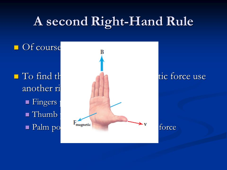 A second Right-Hand Rule Of course, force is a vector.