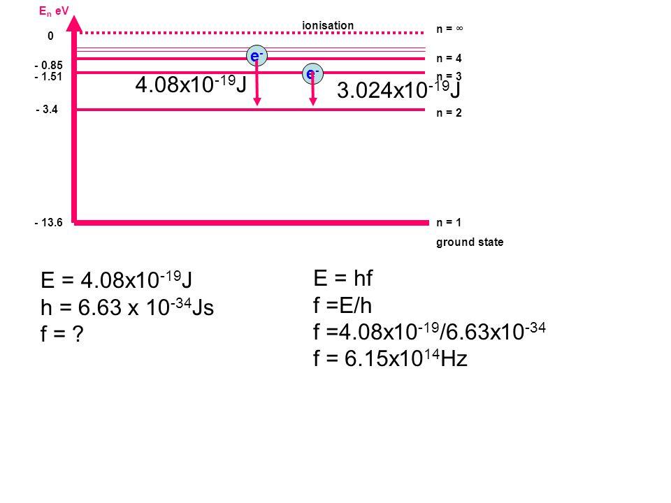 E n eV - 13.6 n = 1 ground state - 1.51n = 3 0 n = ∞ - 3.4 n = 2 - 0.85 n = 4 ionisation E = 4.08x10 -19 J h = 6.63 x 10 -34 Js f = ? e-e- e-e- 3.024x