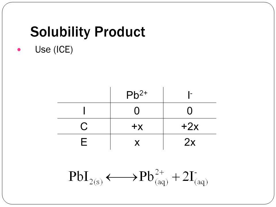 Solubility Product Use (ICE) Pb 2+ I-I- I00 C+x+2x Ex2x