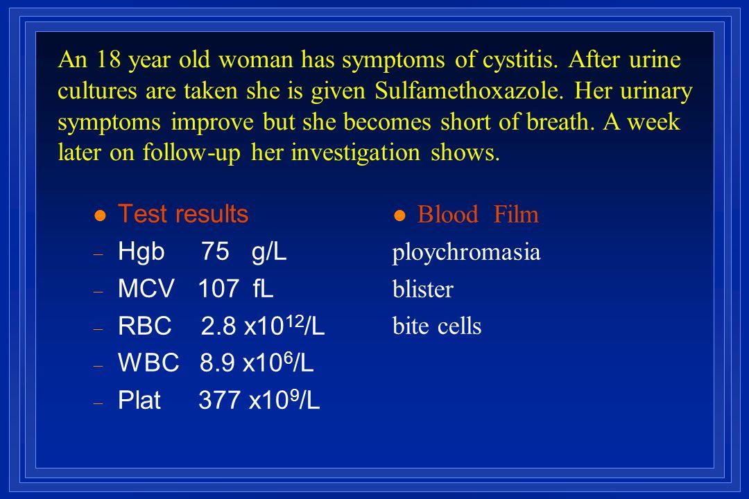l Test results  Hgb 75 g/L  MCV 107  fL  RBC 2.8 x10 12 /L  WBC 8.9 x10 6 /L  Plat 377 x10 9 /L Blood Film ploychromasia blister bite cells An
