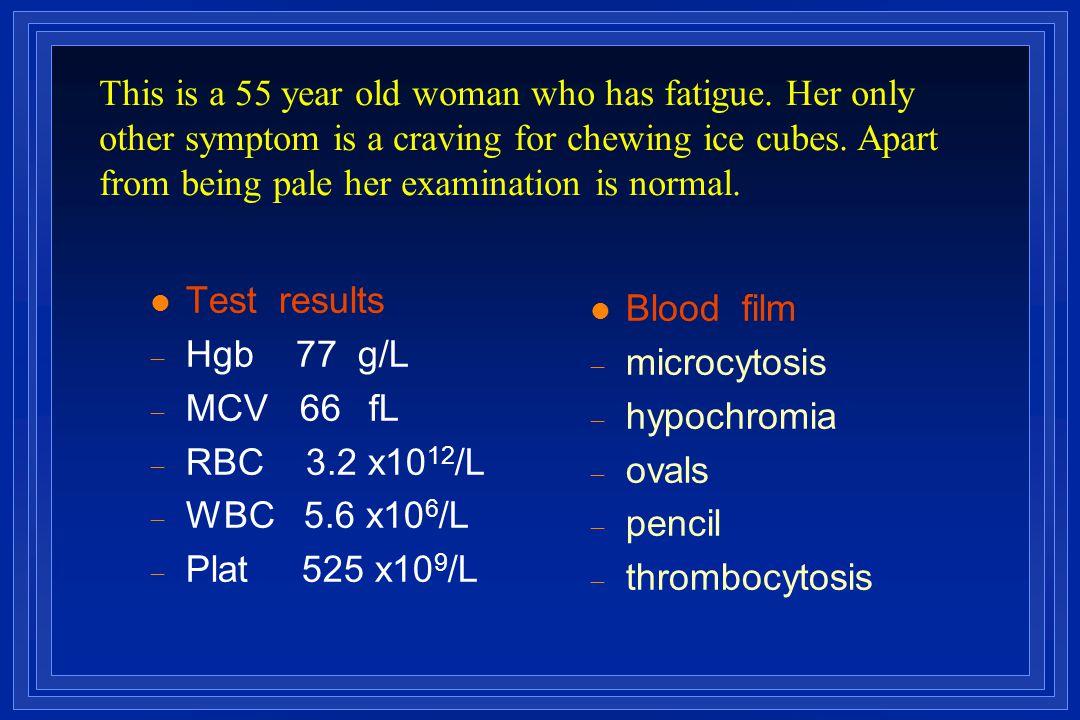 l Test results  Hgb 77 g/L  MCV 66  fL  RBC 3.2 x10 12 /L  WBC 5.6 x10 6 /L  Plat 525 x10 9 /L l Blood film  microcytosis  hypochromia  ova